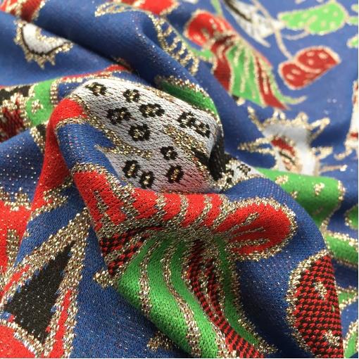 Джерси нарядное стрейч дизайн Gucci орнамент на синем фоне