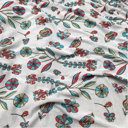 Джерси нарядное стрейч дизайн Gucci орнамент на белом фоне