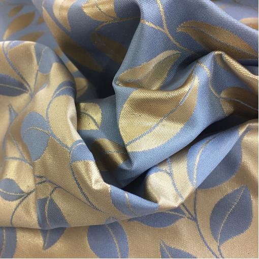 Жаккард нарядный принт Gucci двухсторонний в золотисто-голубых тонах