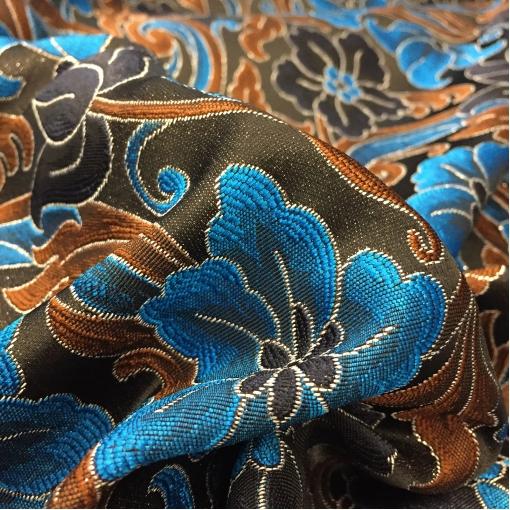 Жакард нарядный Alberta Ferretti цветы в горчично-голубой гамме