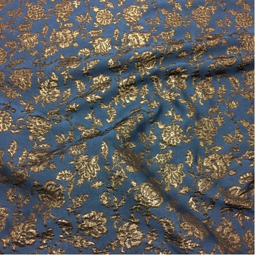 Жаккард нарядный мягкий принт Alberta Ferretti темно-синего цвета с люрексом