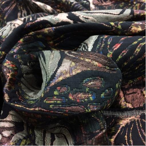 Жаккард нарядный Chanel листья и лепестки в болотно-бронзовых тонах