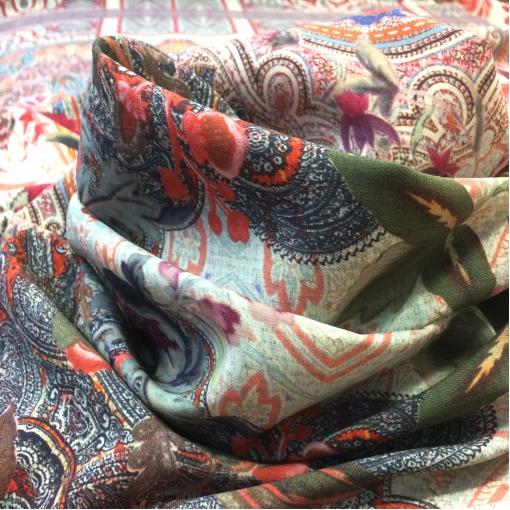 Ткань шерстяная плательная стрейч принт ETRO купон в розово-голубых тонах