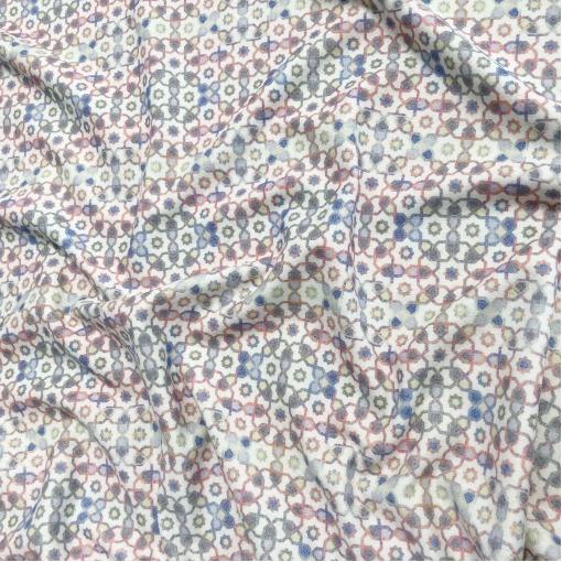 Ткань пальтовая шерстяная Gucci геометрический орнамент на молочном фоне