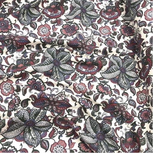 Ткань пальтовая тонкая Gucci растительный узор на молочном фоне