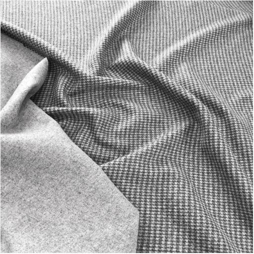 Ткань пальтовая шерстяная двухсторонняя серый меланж и пье-де-пуль