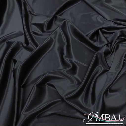 Шелк атласный стрейч высшего качества черно-синего цвета
