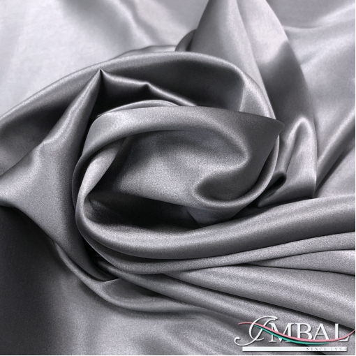 Шелк атласный стрейч высшего качества цвета средне-серый жемчуг