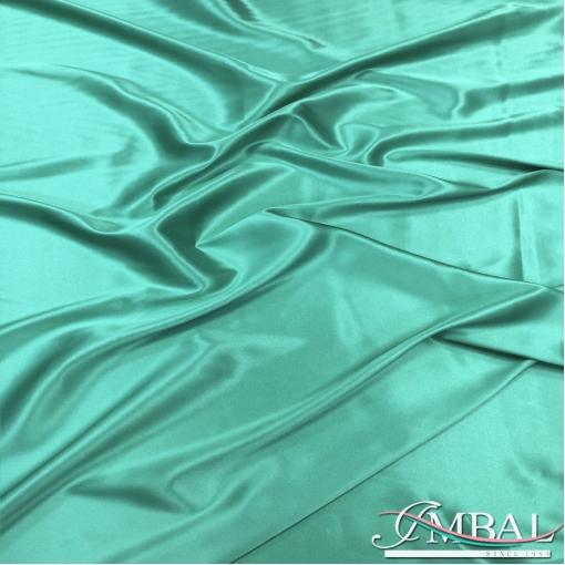Шелк атласный стрейч высшего качества цвета бискайский зелёный