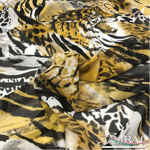 Шелк шифон принт D&G с элементами зебры,тигра и леопарда