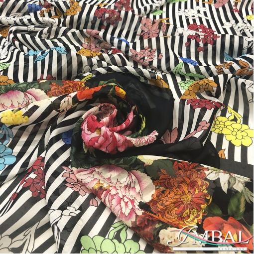 Шелк шифон креш принт Versace купон цветы и полосы