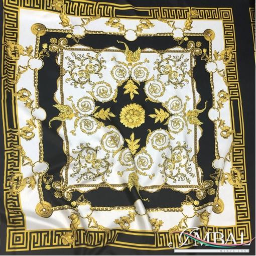 Шелк твил мягкий принт Versace платки 85х85 барокко на белом фоне
