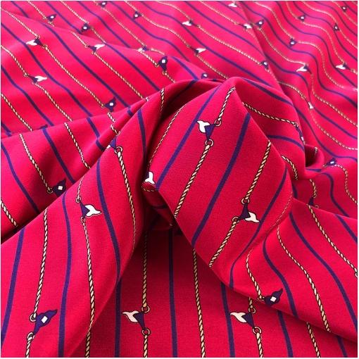 Шелк креповый дизайн Max Mara полоски и цепочки на красном фоне
