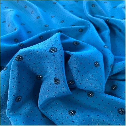 Шелк креповый дизайн Max Mara мелкие горошки на сине-голубом фоне