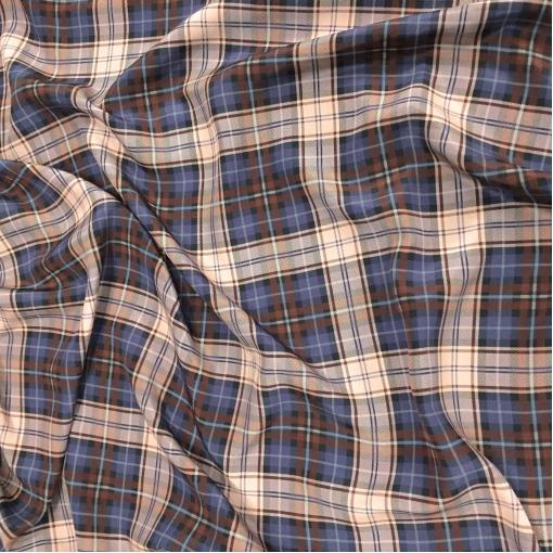 Шелк креповый принт Burberry сине-коричневая клетка