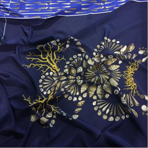 Шелк креповый принт Alberta Ferretti купон с морской тематикой