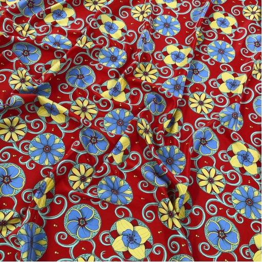 Шелк креп Gucci цветы и вензеля на глубоком красном фоне
