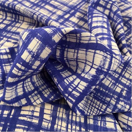 Шелк креп стрейч Aspesi сине-фиалковые полосы на молочном фоне