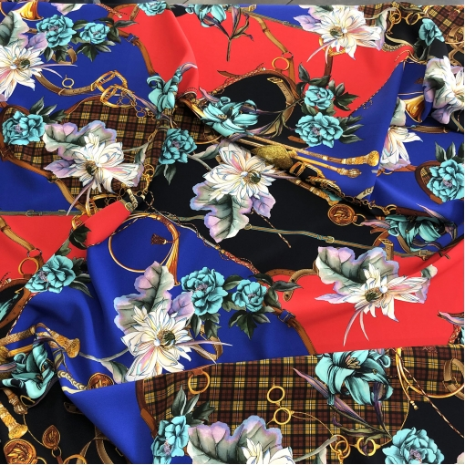 Вискоза плательная кади стрейч принт Gucci пэчворк ремни и цветы