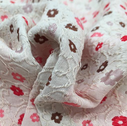 Жаккард хлопковый Chanel цветочки на ванильном фоне