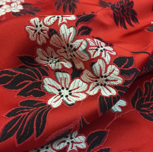 Жаккард принт Alberta Ferretti мелкие цветы на красном фоне