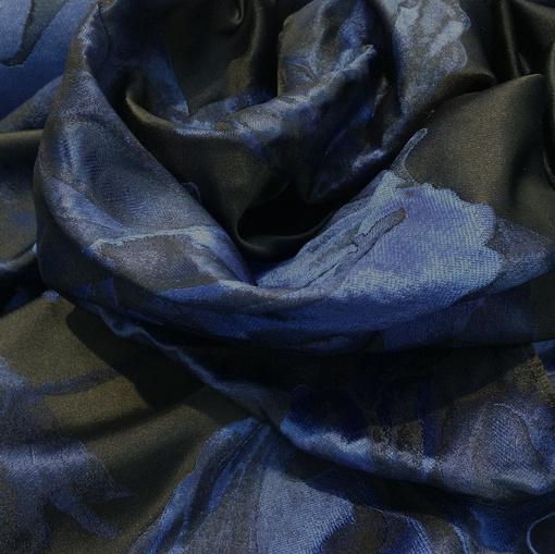 Жаккард тафта нарядный Alberta Ferretti синие крупные цветы