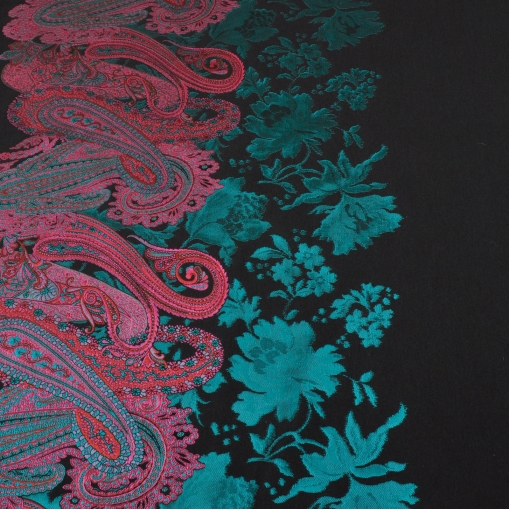 Жаккард купон с изумрудно-красными огурцами и цветами