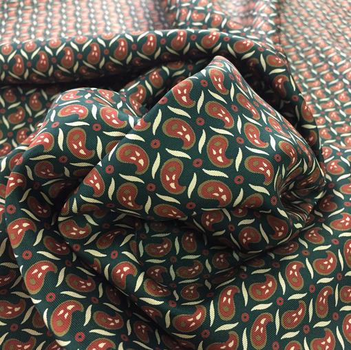 Шелк твил Fendi принт огурцы на изумрудном фоне