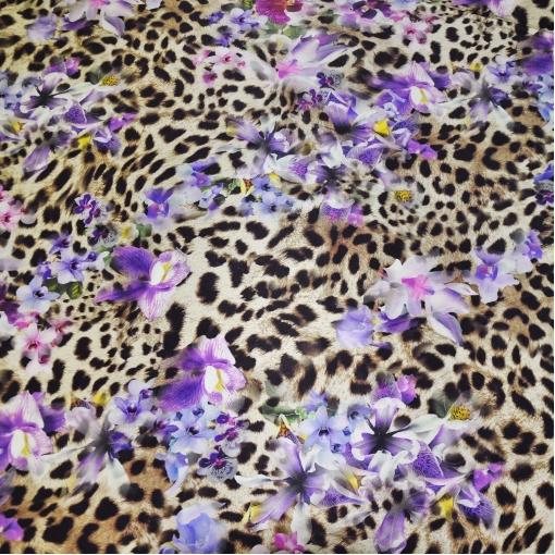 Шелк атласный стрейч леопардовый фон и орхидеи