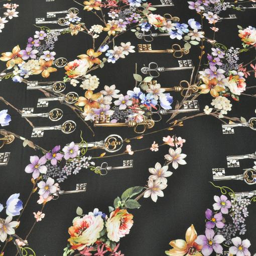 Вискозный креп с принтом D&G на черном фоне ключи и цветы