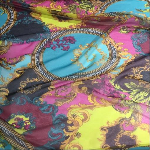 Муслин хлопок с шелком принт Versace вензеля на розовом, голубом и желтом
