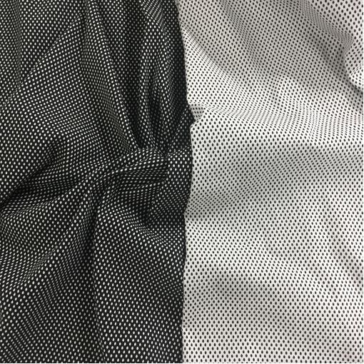 Жаккард нарядный стрейч двухсторонний принт Prada черно-белая крапинка