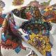 Жаккард х/б костюмный фактурный принт абстрактные цветы на молочном фоне