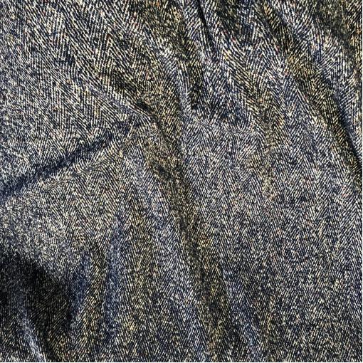 Шанель нарядная шерстяная костюмная дизайн Chanel сине-белая елочка с цветными вкраплениями