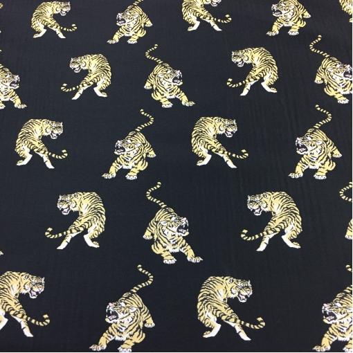 Жаккард нарядный дизайн Giamba  тигры на черном фоне