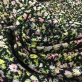 Жаккард нарядный принт Prada с розово-зелеными цветами на черном фоне