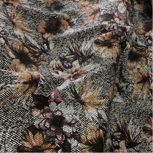 """Твид костюмный шерстяной дизайн Chanel охристые цветы на черно-белой """"елочке"""""""