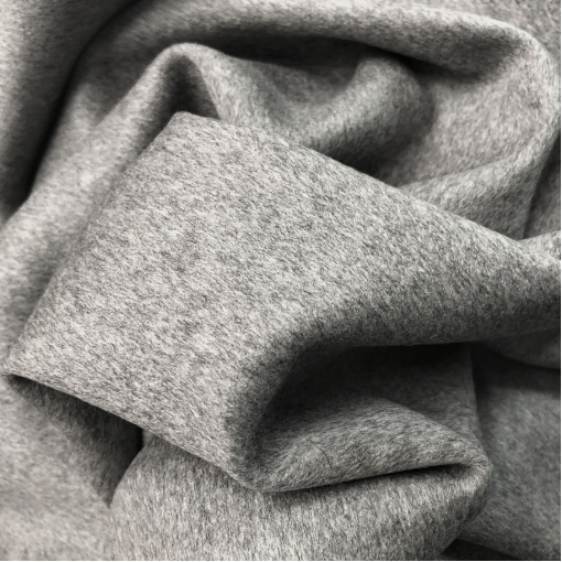 Ткань пальтовая с кашемиром серого меланжевого цвета