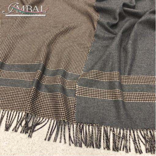 Ткань костюмно-пальтовая двухсторонняя купон Ferragamo с бахромой пье-де-пуль в серо-коричневой гамме