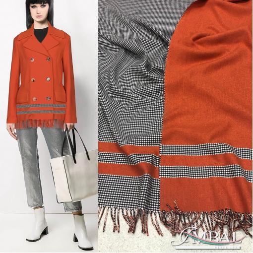Ткань костюмно-пальтовая двухсторонняя купон Ferragamo с бахромой пье-де-пуль в серо-апельсиновой гамме
