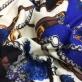 Трикотаж шерстяной Gucci ремни, цепи и цветы в синих тонах
