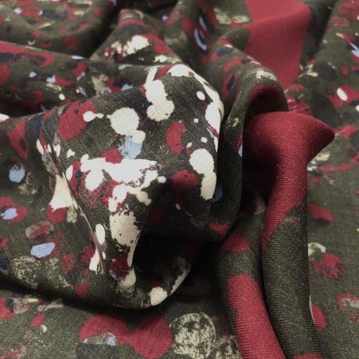 Ткань шерстяная Ferragamo купон с абстрактным узором в малиново-табачной гамме