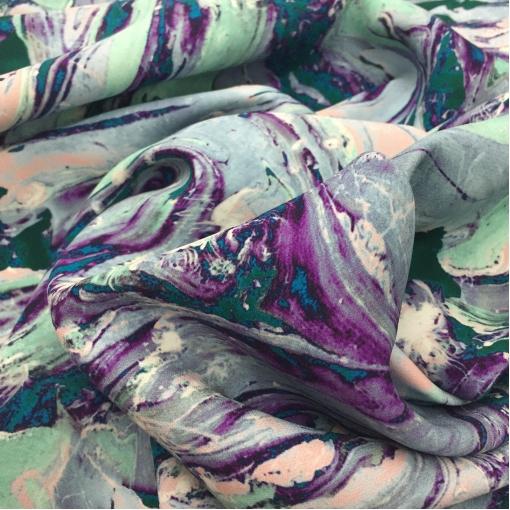 Шелк креповый плотный стрейч принт Roberto Cavalli бирюзово-голубые разводы