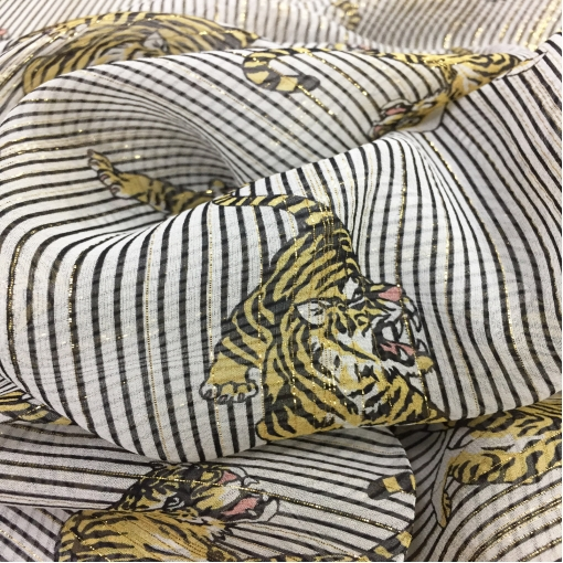 Шелк шифон с люрексом принт Giamba тигры и полоски на белом