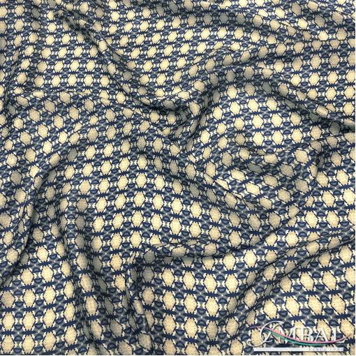 Шелк матово-атласный лёгкий принт сине-бежевые геометрические фигуры
