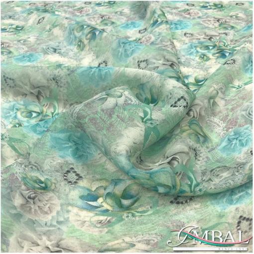 Шелк шифон принт Blumarine акварельные голубые цветы