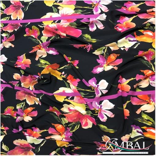 Шелк креповый принт акварельные цветы на черном фоне