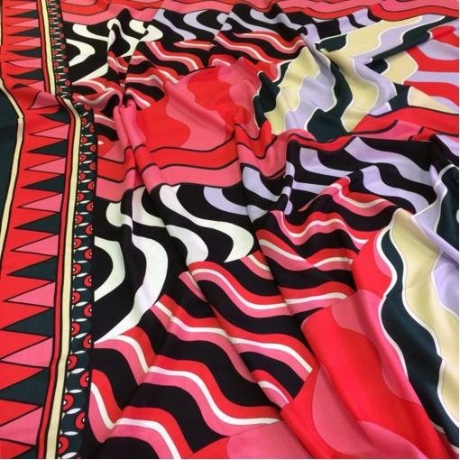 Шелк матовый принт Pucci продольно-поперечный купон в кораллово-розово-черные волны