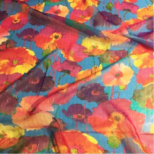 Шелк шифон Blumarine маки на голубом фоне с люрексовыми полосами