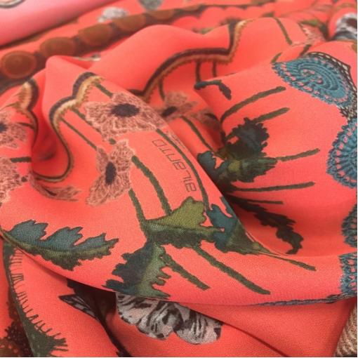 """Шелк креповый """"комфорт"""" кораллового цвета имитация кружева и вышивки"""